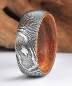 Twist Damascus Steel Wedding Ring Exotic Koa Wood