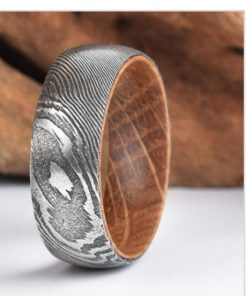 Whisky Barrel White Oak Black Damascus Wedding Band
