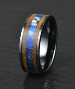 Whisky Barrel & Woolly Mammoth Black Ceramic Wedding Band