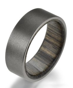 Ancient Siberian Bog Oak Wood Gun Metal Grey Sandblasted Tungsten Wedding Band