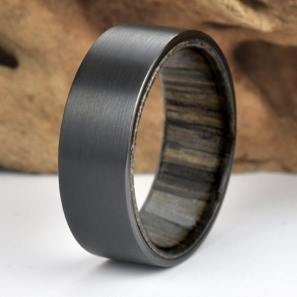 Ancient Siberian Bog Oak Wood Black Tungsten Mens Wedding Band